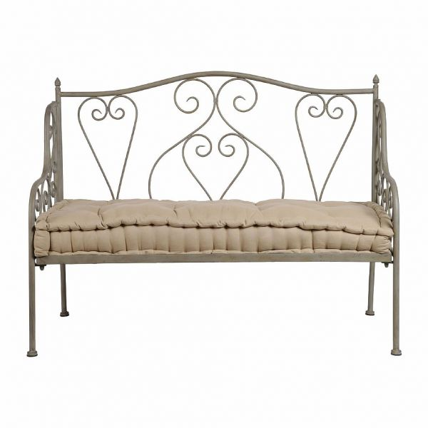 БАНКЕТКА ЗАВИТОК , COMPTOIR DE FAMILLE,  BENCH VOLUTE GREY 123X60XH94CM IRON, АРТИКУЛ 121170
