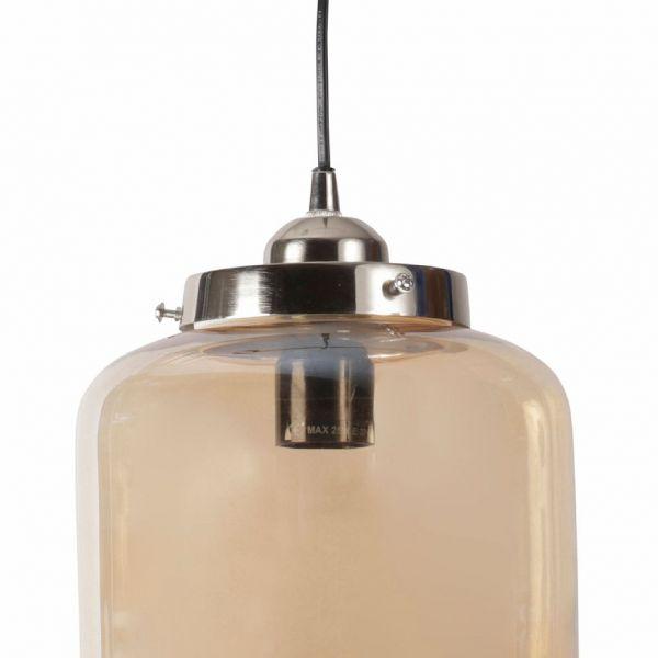 ЛАМПА ПОДВЕСНАЯ, COMPTOIR DE FAMILLE,  CEILING LAMP LA HALLE SMOKED D20XH27CM GLASS+IRON, АРТИКУЛ 153240