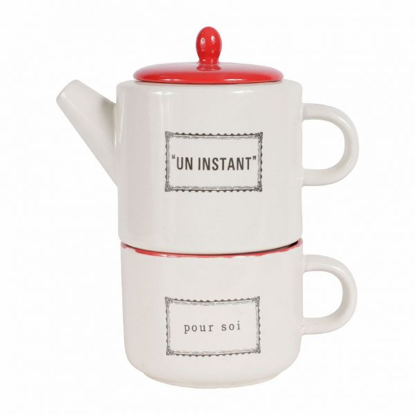 Чайник с чашкой, каменная керамика, 400 мл., Comptoir de Famille, 154520
