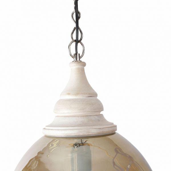 ЛАМПА ПОДВЕСНАЯ, COMPTOIR DE FAMILLE,  CEILING LAMP DOME SMOKED D31XH30 GLASS+MANGO WOOD, АРТИКУЛ 161800