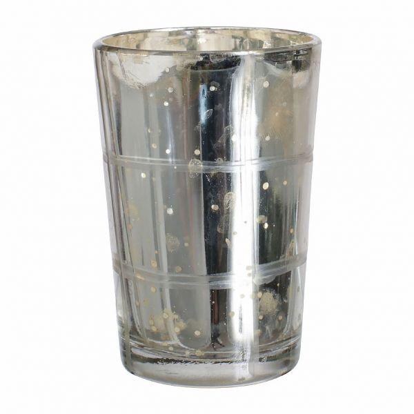 СВЕЧА, COMPTOIR DE FAMILLE,  CANDLE HOLD CARREAU SILVER D6X9CM GLASS, АРТИКУЛ 163240