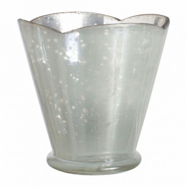 ФОНАРЬ, COMPTOIR DE FAMILLE,  PHOTOPHORE TULIPE SILVER D10.5X10CM GLASS, АРТИКУЛ 163260