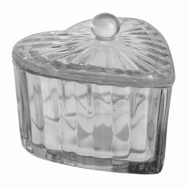 БАНКА  , COMPTOIR DE FAMILLE,  HEART BOX COEUR SILVER 10X11CM GLASS, АРТИКУЛ 163280