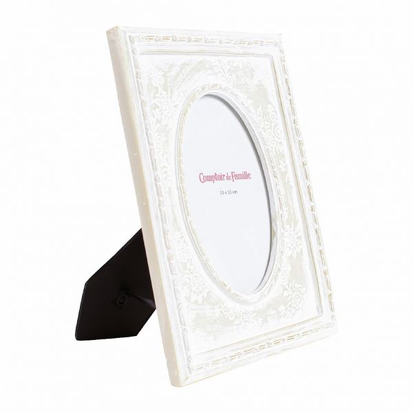 ФОТОРАМКА, COMPTOIR DE FAMILLE,  PHOTO FRAME DENTELLE WHITE 17.9X22.3CM POPLYRESIN, АРТИКУЛ 163680
