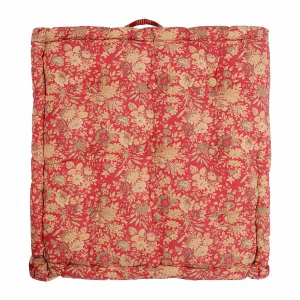 ПОДУШКА ДЛЯ СИДЕНИЯ БАНКЕТКИ, COMPTOIR DE FAMILLE,  BOX CUSHION MARGOT RED 60X61X10CM COTTON+POLYESTER, АРТИКУЛ 200102