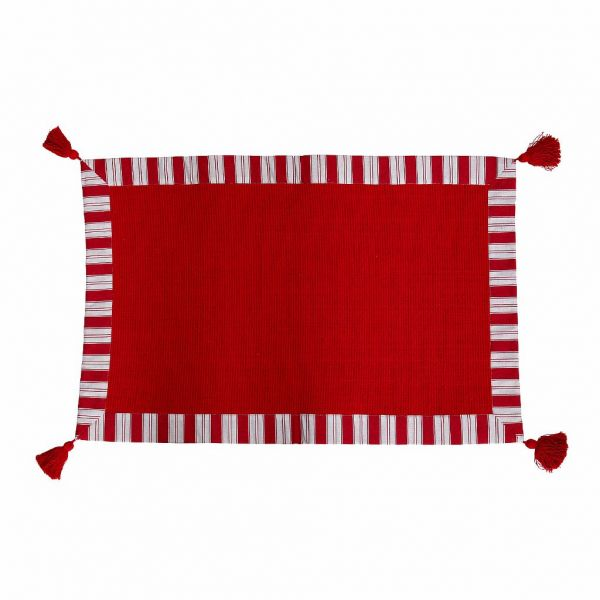 КОВРИК, COMPTOIR DE FAMILLE,  SMALL CARPET ELEONORE CHERRY RED 80X50CM COTTON, АРТИКУЛ 200309