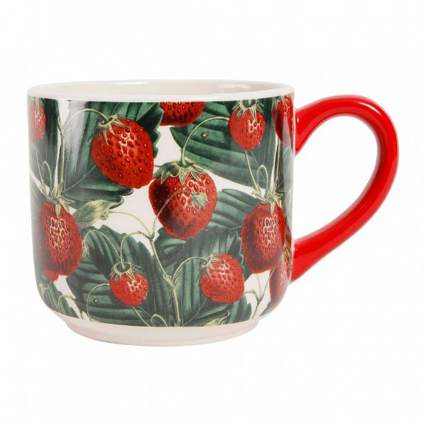 ЧАШКА ДЛЯ ЗАВТРАКА, COMPTOIR DE FAMILLE,  BREAKFAST CUP STRAWBERRY TARTINE RED 1L STONEWARE, АРТИКУЛ 200322