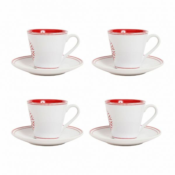 КОФЕЙНАЯ ПАРА, COMPTOIR DE FAMILLE,  COFFEE CUP&SAUCER X4  BOX LISON RED 8CL STONEWARE, АРТИКУЛ 200336