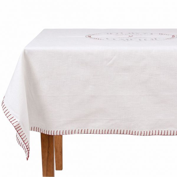 СКАТЕРТЬ, COMPTOIR DE FAMILLE,  TABLECLOTH BREV-COMPT WHITE 140X140CM COTTON, АРТИКУЛ 200373