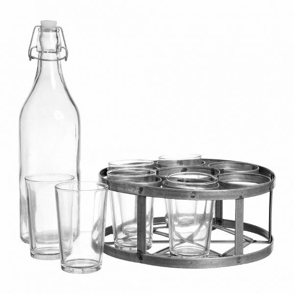 НАБОР СТАКАНОВ 6 ШТ. С БУТЫЛКОЙ И ПОДСТАВКОЙ, COMPTOIR DE FAMILLE,  GLASS HOLDER W/6+BOTTLE CHAUMIERE GREY H31 GLASS, АРТИКУЛ 200446