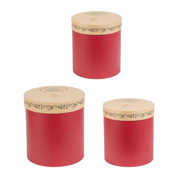 НАБОР ШКАТУЛОК 3 ШТ., COMPTOIR DE FAMILLE,  NESTED ROUND BOX X3 SECRET RED H34/32/30 CARDBOARD, АРТИКУЛ 200459