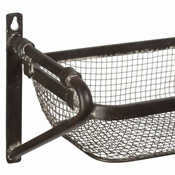 ПОЛКА, COMPTOIR DE FAMILLE,  WALL SHELF BASKET VALENS BROWN 82X18X18CM IRON, АРТИКУЛ 200507