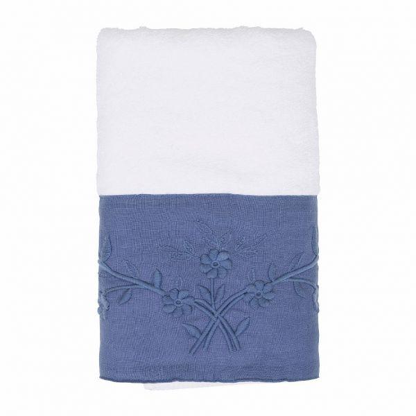 САЛФЕТКА, COMPTOIR DE FAMILLE,  HAND TOWEL EMELINE STEEL BLUE 50X100 COTTON+LINEN, АРТИКУЛ 200622