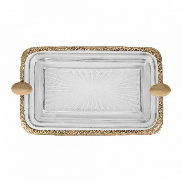 ПЕПЕЛЬНИЦА, COMPTOIR DE FAMILLE,  ASHTRAY FLEURLYS ANTIQUE GOLD 18.5X11 GLASS+BRASS, АРТИКУЛ 200653