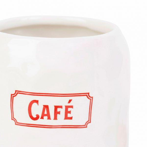 БАНКА, COMPTOIR DE FAMILLE,  POT CAFE GASTON RED+WHITE D10.5XH15.5CM DOLOMITE, АРТИКУЛ 200678