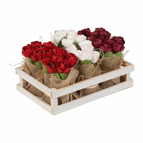 БУКЕТ, COMPTOIR DE FAMILLE,  FLOWER ROSE CRATE BOUQUET RED+WHITE 24X16XH12 WOOD, АРТИКУЛ 200689