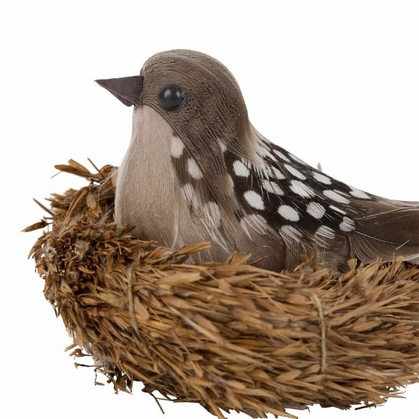 ДЕКОР ПТИЦЫ  6 ШТ., COMPTOIR DE FAMILLE,  DECO SPARROW X6 CAMPAGNE 9X6X5 GRASS+FEATHER+POLY, АРТИКУЛ 200709