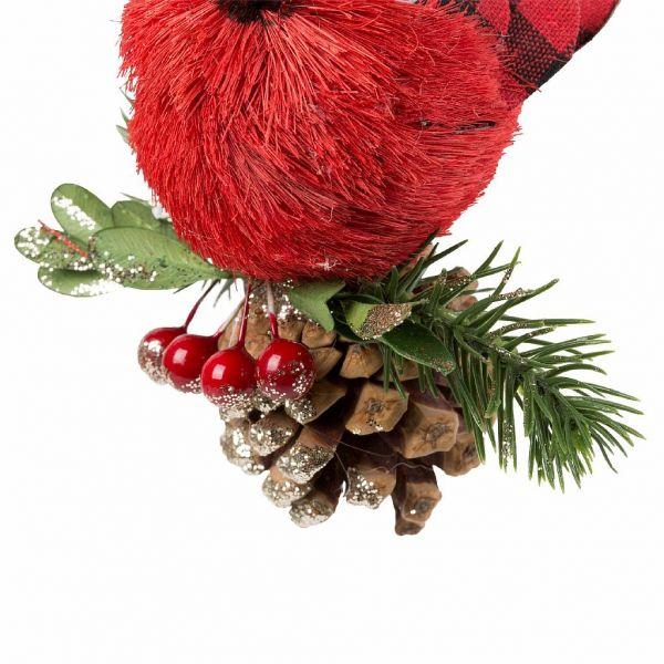 ДЕКОРАТИВНАЯ ПОДВЕСКА, COMPTOIR DE FAMILLE,  HANGING BIRD+PINECONES CAMPAGNE RED H12 STYROFOAM, АРТИКУЛ 200713