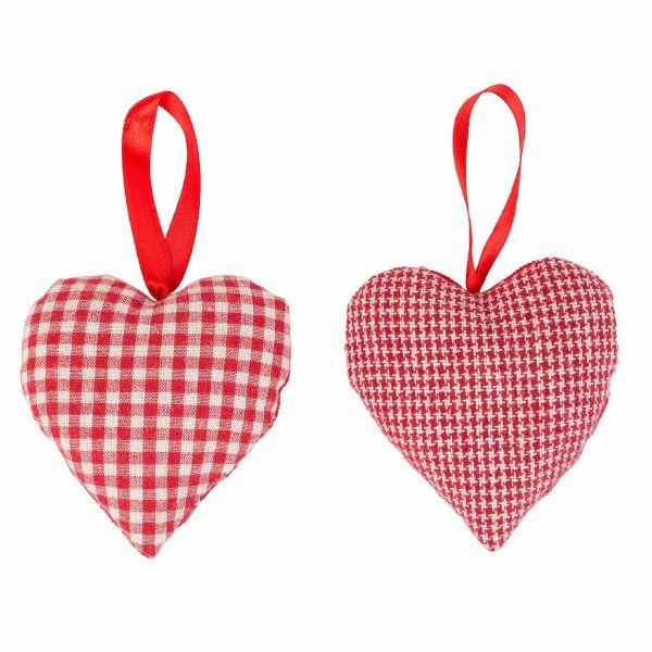 ДЕКОРАТИВНАЯ ПОДВЕСКА, COMPTOIR DE FAMILLE,  HANGING HEART X2 CARMIN RED 10X10CM FABRIC, АРТИКУЛ 200716