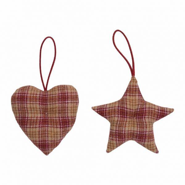 ДЕКОРАТИВНАЯ ПОДВЕСКА, COMPTOIR DE FAMILLE,  HANGING STAR+HEART X2 CARMIN RED 9X9CM FABRIC, АРТИКУЛ 200719