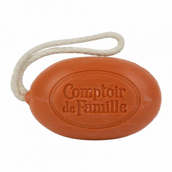 МЫЛО, COMPTOIR DE FAMILLE,  SOAP W/ROPE SCENTED CEDAR FORET RUST 10X6X4CM SOAP, АРТИКУЛ 200732