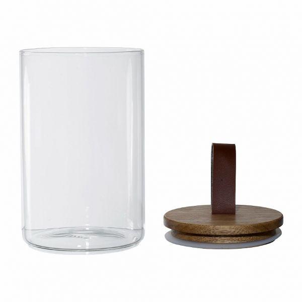 БАНКА С КРЫШКОЙ, COMPTOIR DE FAMILLE,  JAR W/L MOINET NAT 10X16 BOROSILICATE GLASS+ACACIA, АРТИКУЛ 200736