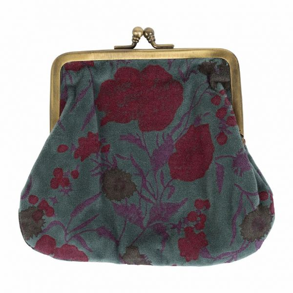 КОСМЕТИЧКА, COMPTOIR DE FAMILLE,  SMALL BAG FLORAL LICHEN+RED 17X14.5CM COTTON+METAL, АРТИКУЛ 200770