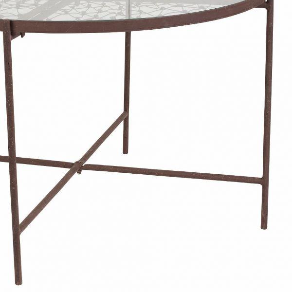 КОФЕЙНЫЙ СТОЛ, COMPTOIR DE FAMILLE,  COFFEE TABLE FLORAL ANTIC BROWN D63XH46 IRON+GLASS, АРТИКУЛ 200818
