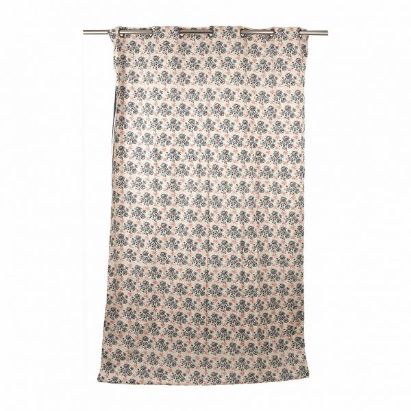ШТОРА, COMPTOIR DE FAMILLE,  CURTAIN ROSETTE DARK GREY+RED 150X270 COTTON+LINEN, АРТИКУЛ 200857