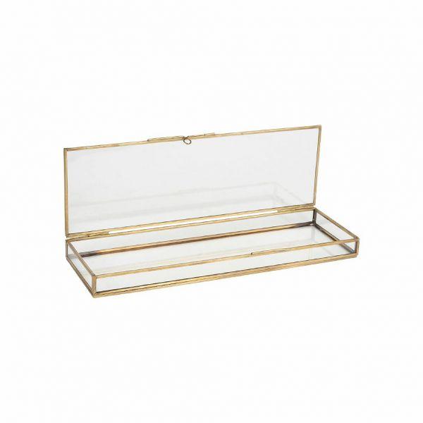 ШКАТУЛКА ДЛЯ УКРАШЕНИЙ, COMPTOIR DE FAMILLE,  BOX FLEURLYS ANTIQUE GOLD 38X12XH3CM BRASS+GLASS, АРТИКУЛ 200882