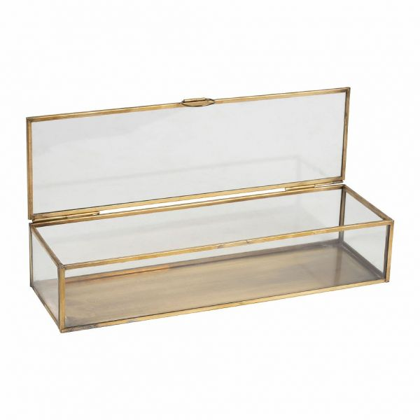 ШКАТУЛКА ДЛЯ УКРАШЕНИЙ, COMPTOIR DE FAMILLE,  BOX FLEURLYS ANTIQUE GOLD 30X9XH6CM BRASS+GLASS, АРТИКУЛ 200883