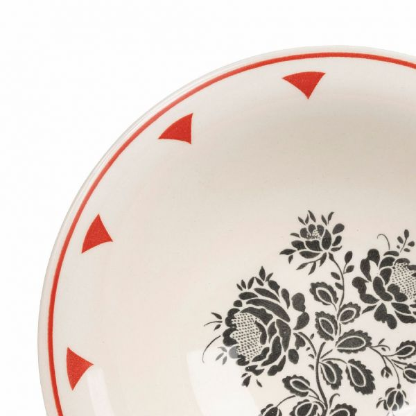 ТАРЕЛКА ДЛЯ СУПА, COMPTOIR DE FAMILLE,  SOUP PLATE ROSETTE DARK GREY+RED D20CM EARTHENWARE, АРТИКУЛ 200911