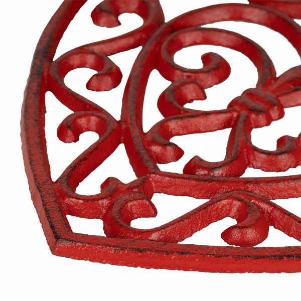 ПОДСТАВКА ПОД ГОРЯЧЕЕ, COMPTOIR DE FAMILLE,  HEART TRIVET RHODONEA RED 19X18CM CAST IRON, АРТИКУЛ 200943