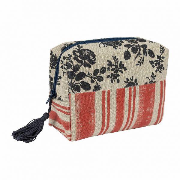 КОСМЕТИЧКА, COMPTOIR DE FAMILLE,  STRIPED SMALL BAG ROSETTE RED+BLUE 15X10X6 COTTON, АРТИКУЛ 200949