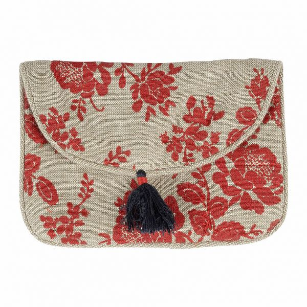КОСМЕТИЧКА, COMPTOIR DE FAMILLE,  SMALL BAG ROSETTE NATURAL+RED 13X9CM COTTON, АРТИКУЛ 200957
