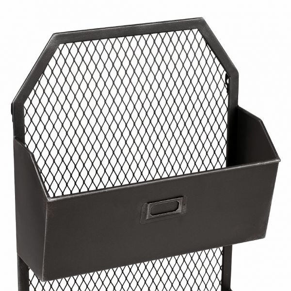ПОЛКА, COMPTOIR DE FAMILLE,  WALL SHELF 2 BASKETS FERRE BLACK 34X14XH60CM IRON, АРТИКУЛ 201013
