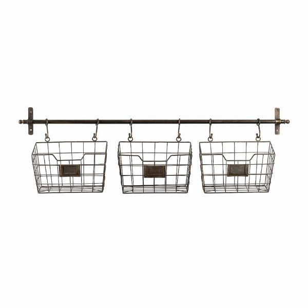 ПОЛКА, COMPTOIR DE FAMILLE,  WALL SHELF W/3 BASKET RESERVE GREY 106X13H30 IRON, АРТИКУЛ 201014