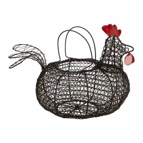ДЕКОРАТИВНАЯ КОРЗИНА КУРИЦА, COMPTOIR DE FAMILLE,  HEN BASKET CAR-CIMENT NATURAL 31X21XH19 CM IRON, АРТИКУЛ 201118