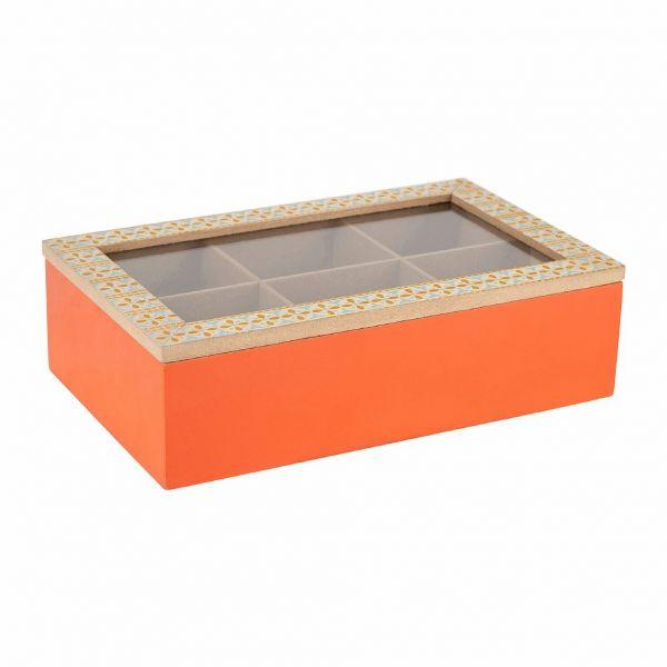 БАНКА ДЛЯ ЧАЙНЫХ ПАКЕТИКОВ, COMPTOIR DE FAMILLE,  TEA BAG BOX 6C CAR-CIMENT ORANGE 24X15H7 MDF+GLASS, АРТИКУЛ 201159