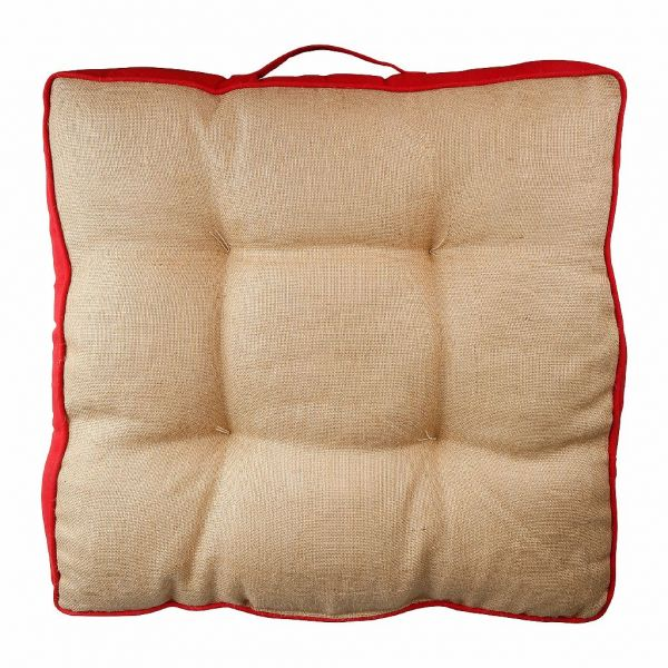 ПОДУШКА ДЛЯ СИДЕНИЯ БАНКЕТКИ, COMPTOIR DE FAMILLE,  BOX CUSHION GROSEILLE N+RED 60X60X10 COTTON+LINEN, АРТИКУЛ 201220