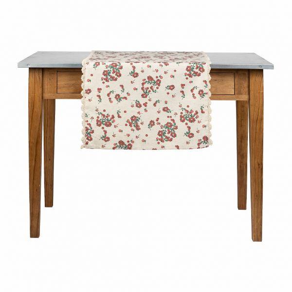 ДОРОЖКА, COMPTOIR DE FAMILLE,  TABLE RUNNER GROSEILLE NAT+RED 150X50 COTTON+LINEN, АРТИКУЛ 201227