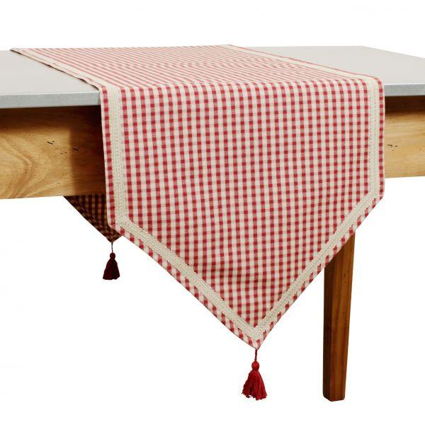 ДОРОЖКА, COMPTOIR DE FAMILLE,  TABLE RUNNER MAMI CARREAU RED 45X150CM COTTON, АРТИКУЛ 3956